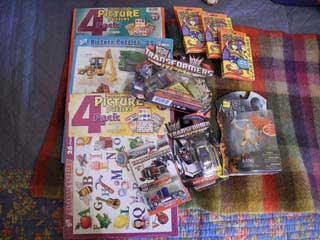 picture of donated books and toys